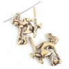 Pendant-Curling Girl 19mm With Broom Antique Gold